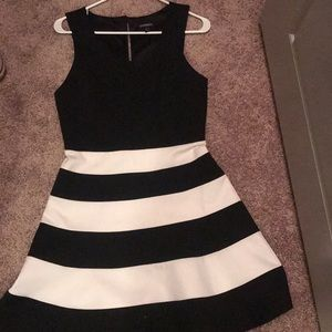 Fancy black and white dress for a night out.